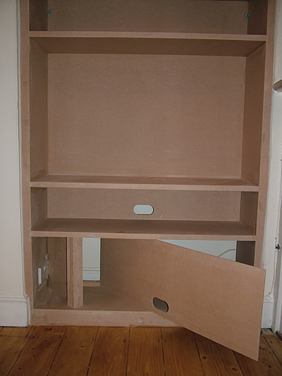 Flat Panel Tv Display And Fitted Alcove Bookcases By