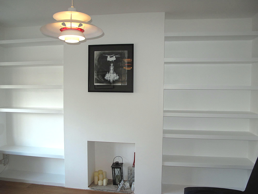 Made to measure alcove shelves by London Carpenter